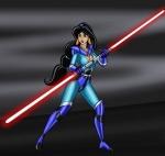 Jasmine lutando com sabre de luz