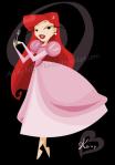 Ariel de vestido vermelho