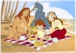 Família do Tarzan em um piquenique