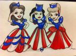 Bella,Branca e Cinderella patriotas Estado-unidenses